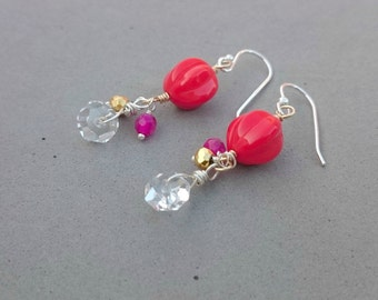 Bright Orange Earrings - Rock Crystal Earrings with Vintage Glass, Pyrite, Agate and Sterling Silver