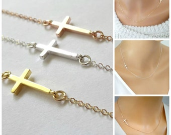 Thin cross necklace, Delicate Rose Gold Cross Necklace, Baptisem necklace