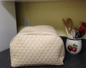 Khaki Kitchen 4 Slice Zipper Toaster Cover Quilted Fabric Kitchen Small Appliance Cover Ready to Ship