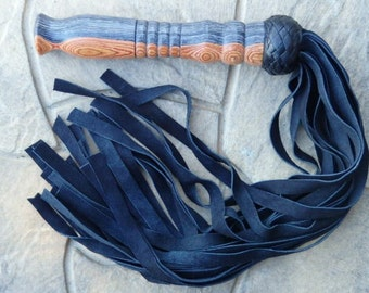 THUDDY Black Leather Flogger Cat Of 9 TAILS NEW Soft Leather Tails Falls