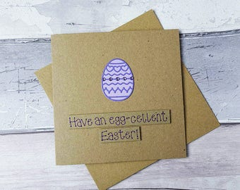 Handmade Easter egg card, Gem encrusted Easter egg card, Funny Easter card, Decorated Easter Egg card, Easter Egg pun card, Cards with gems