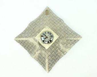 60s Mid Century Wall Clock Mesh Metal Brass Bilt Rite 1960s Atomic Rockabilly Home Decor Decorating