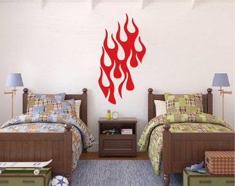 Bedroom Flame Wall Decal, Hot Rod Flames Wall Vinyl Decal, Kids Bedroom Fire Wall Decal, Removable Flames Wall Vinyl Decal Art, b14