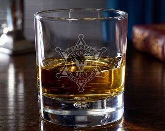 Sheriff Badge Personalized Rocks Glass for Law Enforcement -  Bryne Style Whiskey Glass - Bubble-Detail Base - Ideal Personalized Gift