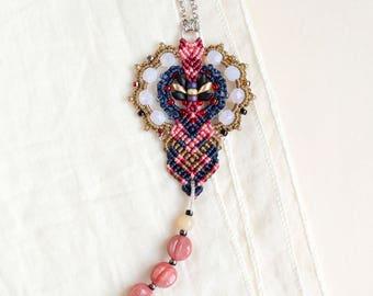 Bohemian necklace, macrame necklace, micro-macrame jewelry, tassel, layer, pendant, beaded, tassel, boho chic, beadwork, coral beige blue