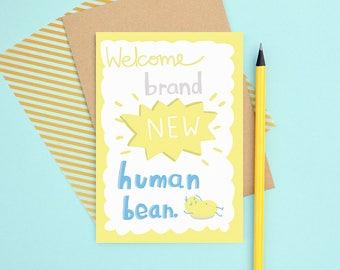 New human bean baby card