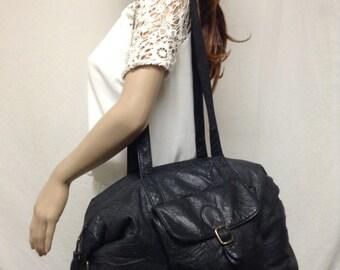 Large Black Leather Purse,bag,Tassel, Shoulder Bag