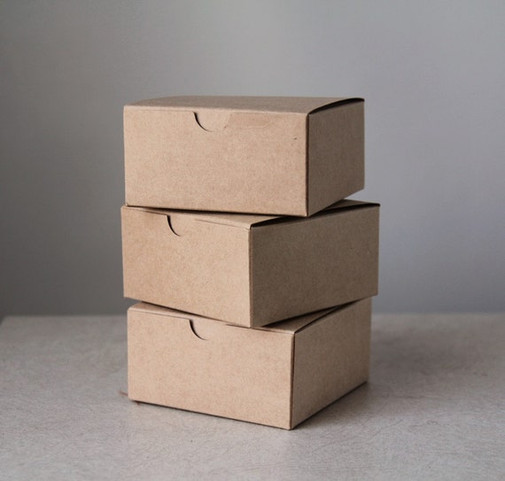 Brown Kraft Gift Boxes Set of 10 - size 4x4x2 inch