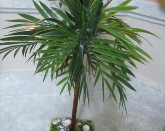 "17"" LARGE Miniature doll/dollhouse/diorama Palm tree/school projects base has real shells"