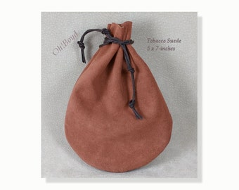 Suede Pouch, 5 x 7-inches, Tobacco Brown, Old Fashioned Quality Drawstring Pouch, Heavy Duty Bag for Storing, Collecting, Special Present