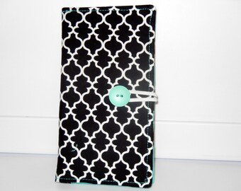Loyalty Card Organizer Holder, 12 Business Card,Gift Card Wallet - Black Lattice with Aqua lining With Cash Pockets