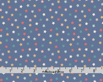 Blue Stars Fabric, Stars Quilt Fabric, Lewis & Irene Vintage Circus A144 3, Baby Fabric, Children's Quilt Fabric, Cotton