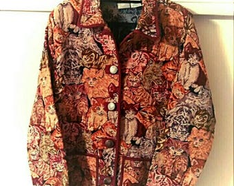 Vintage Crazy Cat Lady Tapestry Carpet Winter Coat