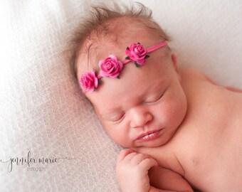 HOT PINK Headband, Newborn Headband, Hot Pink Headband, Baby Girl Headband, Hot Pink Headbands, Newborn Photo Prop, Baby headbands, Hot Pink