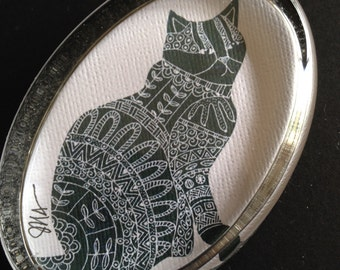 Glass Paperweight- Cat