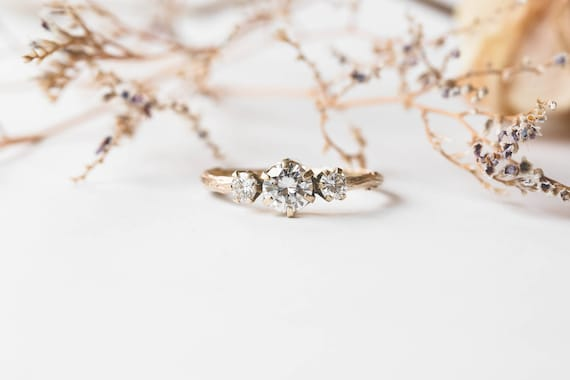 Ready to ship 1 week- Moissanite and gold twig engagement ring, twig nature moissanite ring, three stone ring, 14k gold engagement ring
