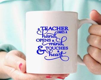Terchers Gift -Coffee mug-Ceramic mug-Holiday gift-Custom mug- Gift for friend- Gift under 15- Terchers gift idea-Vinyl mug- Teachers gift