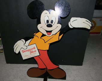 Vintage Walt Disney Productions Mickey Mouse Sign For Disneyworld Shoes