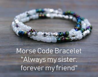 Sister Morse Code Bracelet, Sister Bracelets, Sister Wish Bracelet Little Sister Gift Morse Code Sister, Morse Code Necklace, Sister Jewelry