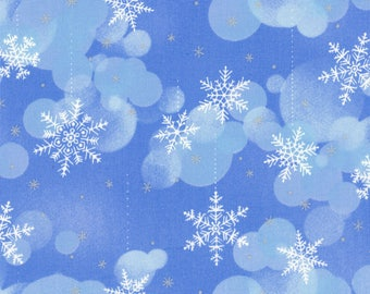 Snowflakes & Bubbles, 2 Blue Colorways, Light Silver Metallic, 100% Cotton~Sold by the Yard