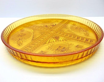 Vintage Amber Glass Serving Tray