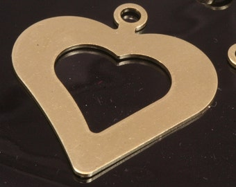 heart shape tag stamp tag 10 pcs raw brass 35 x 30 mm (thickness 0.8 mm 20 gauge)charms with 1 hole ,findings 1038R-29