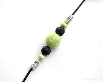 Green necklace, Clothing gift, Felt leather minimalist apple green pearl black fashion jewelry bridesmaid wife gift Prom party choker