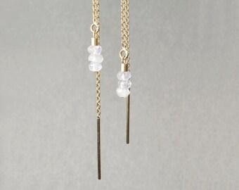 Earrings 14 k gold and Moonstone *.