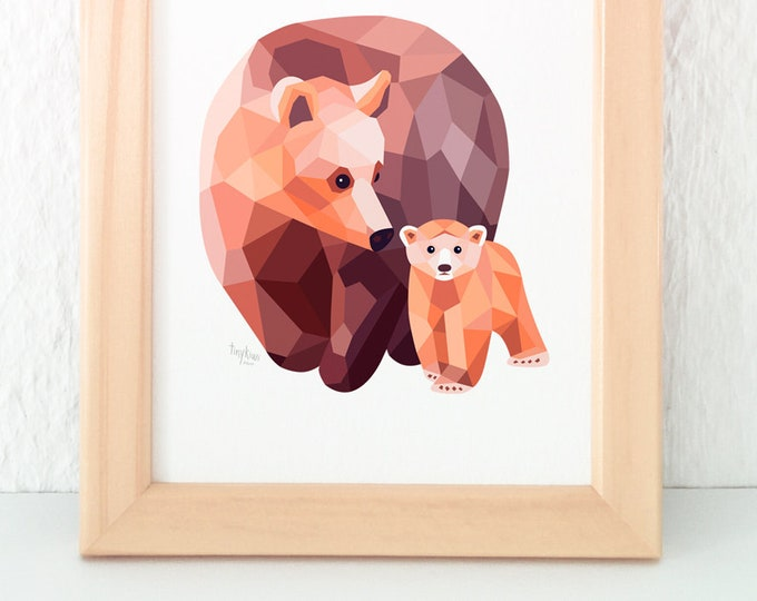 Bear illustration, Mother bear art, Baby bear decor, Bear nursery art, Children's bear art, Cute bear art, Kids bear art, Minimalist nursery