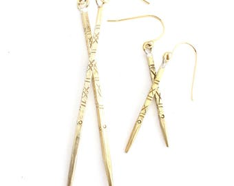 Finn -- carved brass spike edgy statement earrings, carved in Thailand, minimalist, boho, tribal, bohemian, neutral, under 30