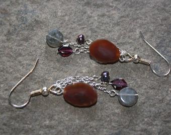 Lake Superior Agate Dangle Earrings