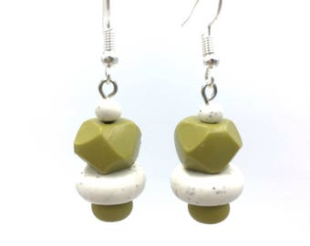 Avocado rock and speckled white earrings