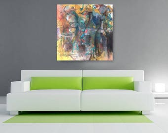 Wine Time Canvas, African American Art, Canvas Art, Canvas Wall Art,Home Decor Art, Canvas Painting,Abstract Art, Wall Art