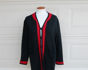 Vintage Italian Wool Sweater Coat . Cable Knit Black and Red Cardigan . by Romia M-L