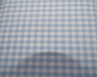 Gingham blue 5mm 100% cotton fabric