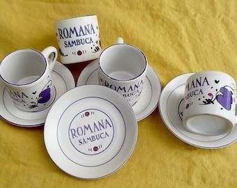 Sambuca Romana Espresso Cups and Saucers Set of 4