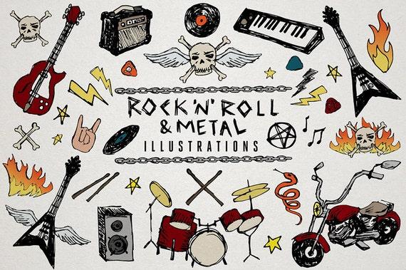 rock n roll clipart heavy metal music clip art sketchy doodles rh etsystudio com rock n roll clipart guitarist rock and roll clipart free