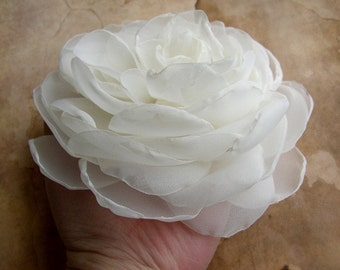 Large Wedding Hair Flower, Ivory or White Wedding Hair Flower, Peony Flower Clip, Wedding Hairpiece, Bridal Hair Piece, Hair Accessories
