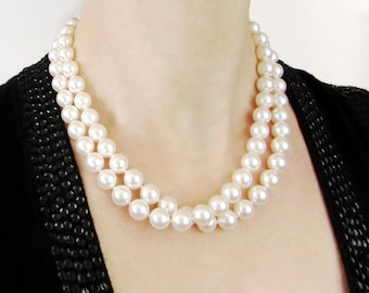 Hand Knotted Double Strand Pearl Necklace, Glass Pearl Necklace, Hand Knotted Pearls, Faux Pearl Necklace, Swarovski Pearls
