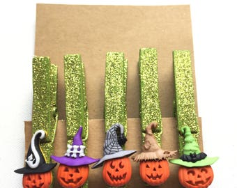 Jack O'Lantern Clothespin Magnets, Pumpkin Clothespins, Pumpkin Clothespin Magnets, Jacks with Hats Magnets, Hand painted Magnets, Halloween