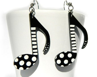 Music earrings, Black and white jewelry, Musician jewelry, Gift for music lover, Best friend gift, bff, dangle gothic rockstar earrings