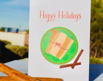 Happy Holidays- Merry Christmas- Happy New Year- Tamales- Latino Holidays- Family
