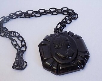 Black Cameo Victorian Revival Necklace, Celluloid Mourning Necklace