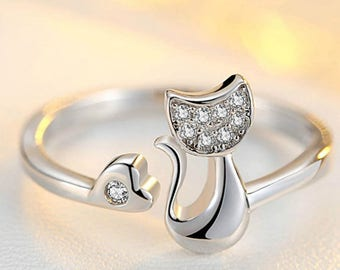 Silver Plated Ring / Cute Animal  Cat Ring