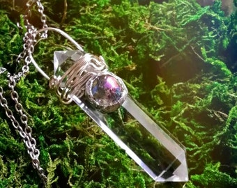 Wire wrapped clear quartz crystal point, angel aura quartz crystal,  clear quartz with angel aura quartz, quartz crystal point
