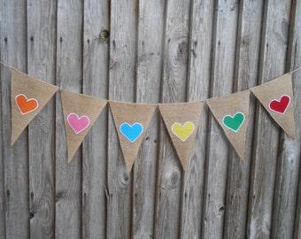 Hearts Banner Heart Garland Wedding Banner Heart Bunting Burlap Wedding Decor Wedding Garland Rustic Burlap Bunting Wedding Bunting