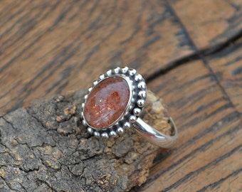 Sunstone Gemstone Ring - Oregon Sunstone Cabochon Ring - Sunstone Jewelry - Sunstone and 925 Sterling Silver Ring - Orange Sunstone Ring