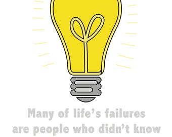 Success, Wall Art, Motivation, Quote, Classroom poster, lightbulb, Thomas Edison, Digital art