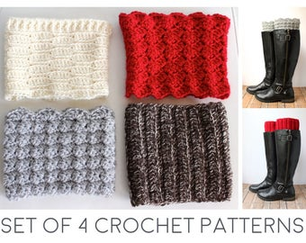 Boot Cuff Crochet Pattern -  Crochet Boot Cuffs Pattern - Boot Toppers Crochet - Boot Cuff Topper Tutorial - Set of 4 Easy Crochet Patterns