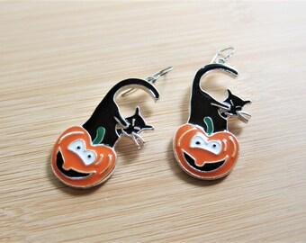 Black Cat Kitty Pumpkin Halloween Enamel Earrings Orange